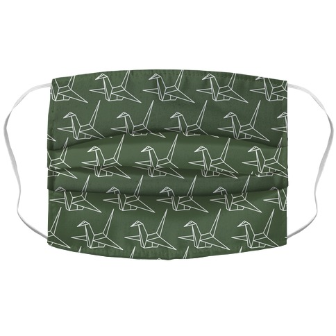 Origami Crane Pattern Chive Green Accordion Face Mask
