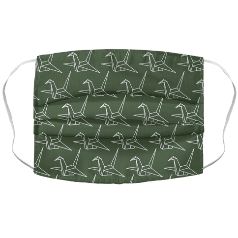 Origami Crane Pattern Chive Green Face Mask