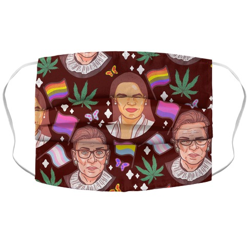 AOC, RGB, Weed, Pride, and Butterflies Pattern Accordion Face Mask