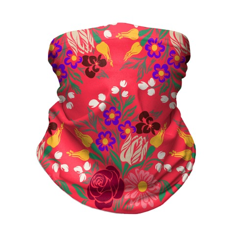Bright Summer Floral Bouquet Neck Gaiter