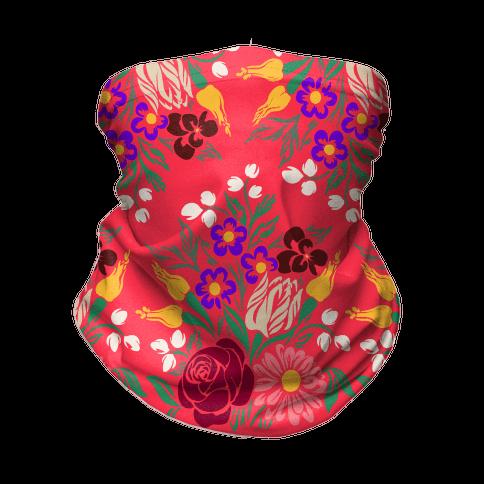 Bright Summer Floral Bouquet Neck Gaiter