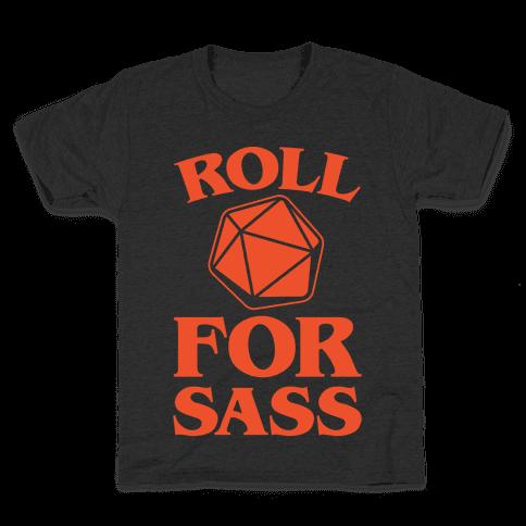 Roll For Sass D & D Parody White Print Kids T-Shirt