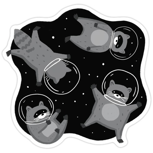 Raccoons In Space Die Cut Sticker