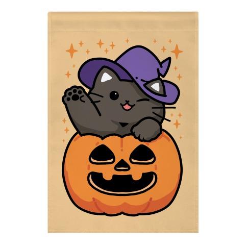 Cute Halloween Cat Garden Flag
