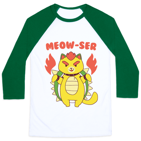 Meow-ser Bowser Baseball Tee