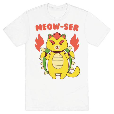 Meow-ser Bowser Mens T-Shirt