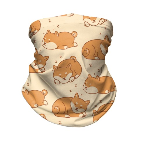 Sleepy Shibe Pattern Neck Gaiter