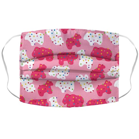 Frosted Animal Cracker Pattern Accordion Face Mask