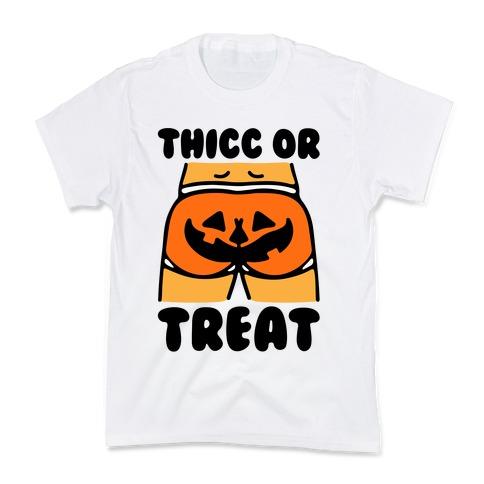 Thicc Or Treat Pumpkin Butt Kids T-Shirt