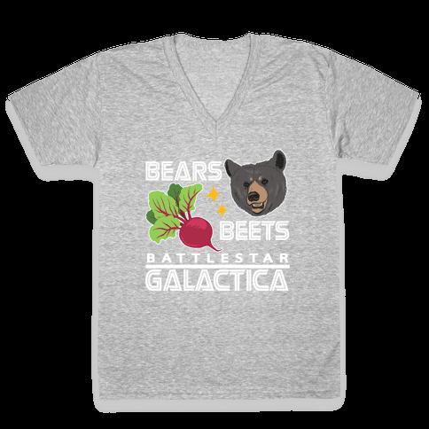 Bears. Beets. Battlestar Galactica. V-Neck Tee Shirt