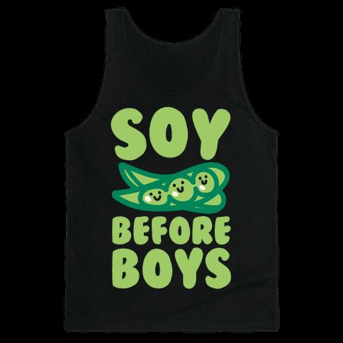 Soy Before Boys White Print Tank Top
