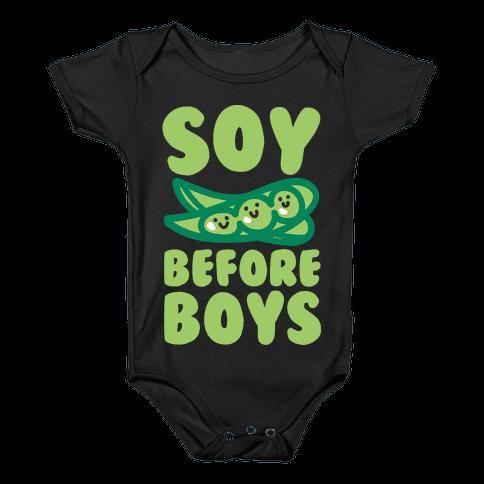 Soy Before Boys White Print Baby Onesy