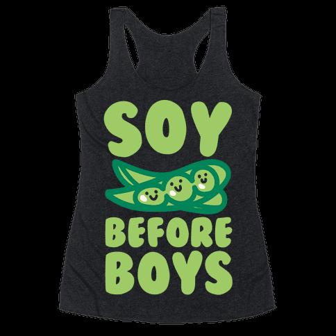 Soy Before Boys White Print Racerback Tank Top