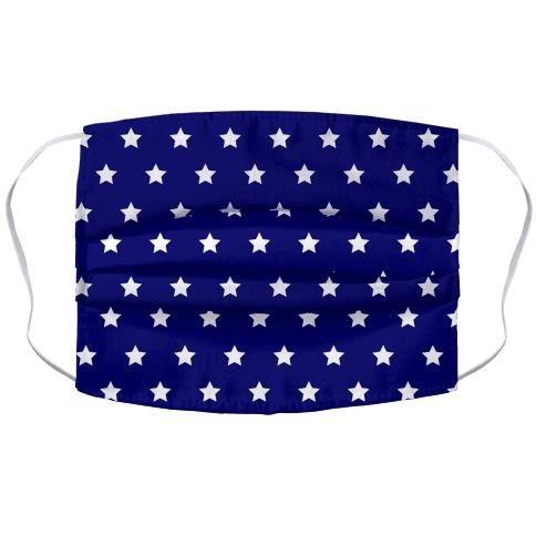 Navy Blue White Stars Face Mask Cover