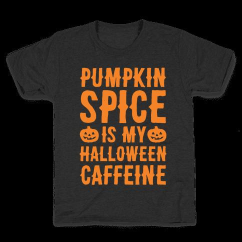 Halloween Caffeine White Print Kids T-Shirt