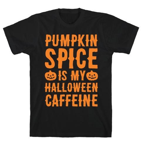 Halloween Caffeine White Print T-Shirt