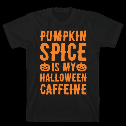 Halloween Caffeine White Print Mens T-Shirt