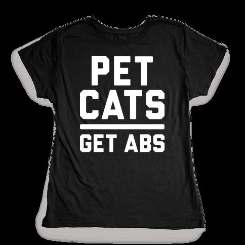 Pet Cats Get Abs (White) Womens T-Shirt
