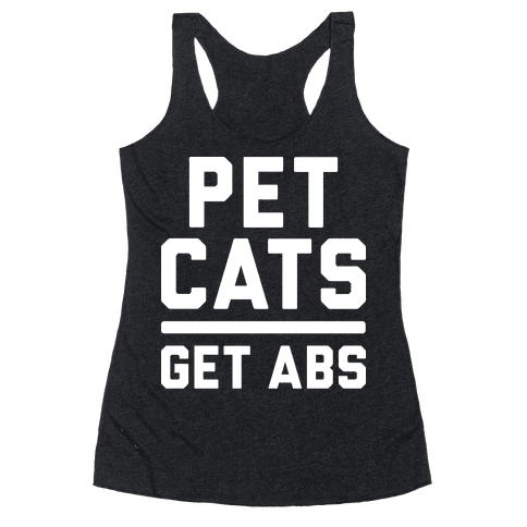 Pet Cats Get Abs (White) Racerback Tank Top