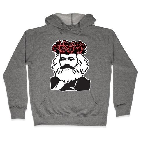 Flower Crown Karl Marx Hooded Sweatshirt