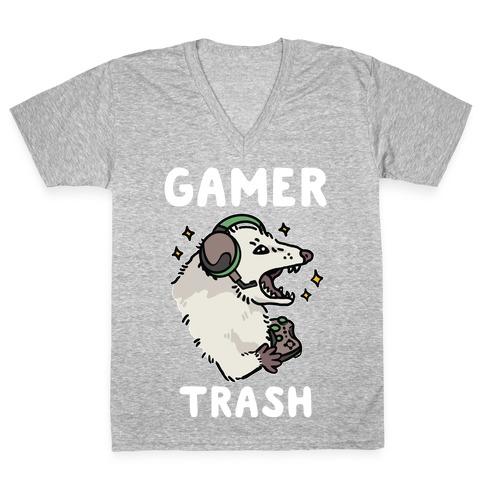 Gamer Trash Opossum V-Neck Tee Shirt