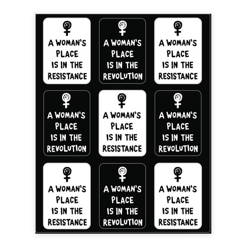 A Woman's Place Is In The Resistance Sticker/Decal Sheet