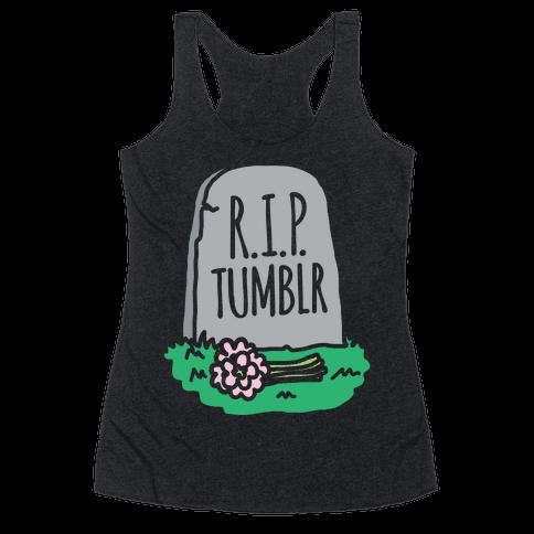 R.I.P. Tumblr White Print Racerback Tank Top