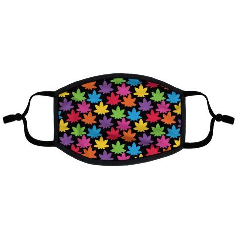 Rainbow Pot Leaf Pattern Flat Face Mask