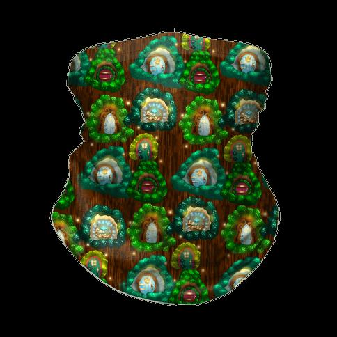 Fairy Cottage Doors Pattern Neck Gaiter
