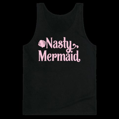 Nasty Woman Mermaid Parody White Print Tank Top