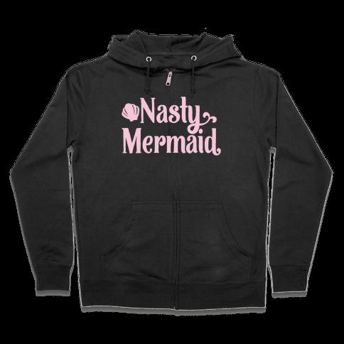 Nasty Woman Mermaid Parody White Print Zip Hoodie