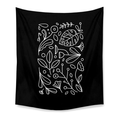 Black and White Plant Pattern Tapestry
