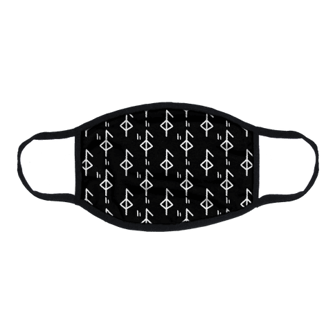 Health Rune Pattern Black and White Flat Face Mask