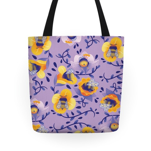 Sleepy Bumble Bee Butts Floral Tote