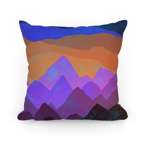 Abstract Mountain Sunset Pillow