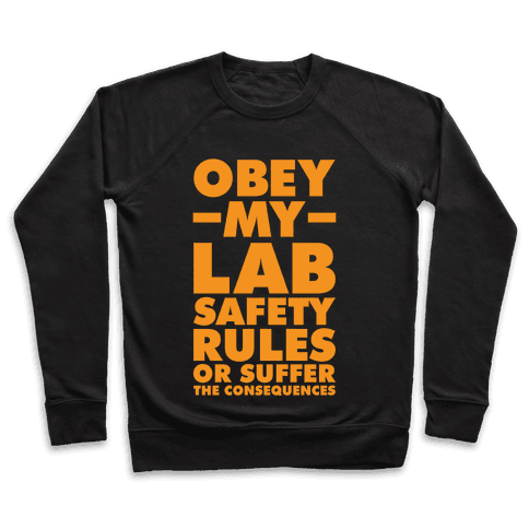 Obey My Lab Safety Rules or Suffer the Consequences Science Teacher Pullover