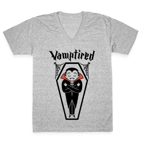 Vamptired Tired Vampire V-Neck Tee Shirt
