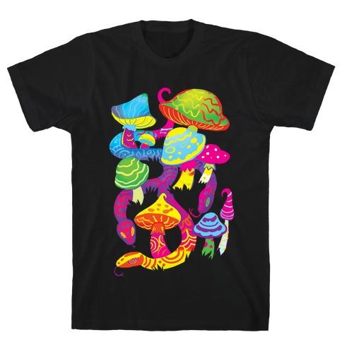 Psychadellic Snake among Mushrooms T-Shirt