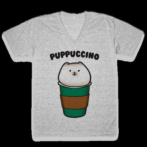 Puppuccino Parody V-Neck Tee Shirt