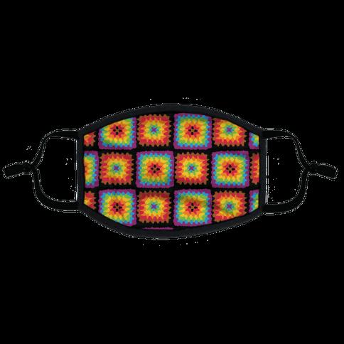 Granny Squares Pattern (Gay Pride) Flat Face Mask