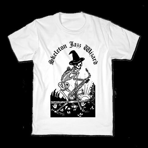 Skeleton Jazz Wizard Kids T-Shirt
