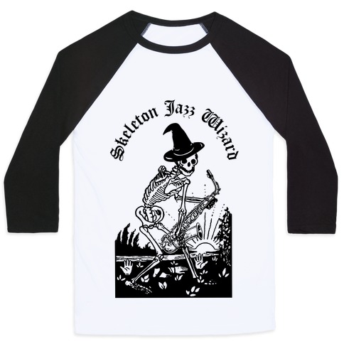 Skeleton Jazz Wizard Baseball Tee