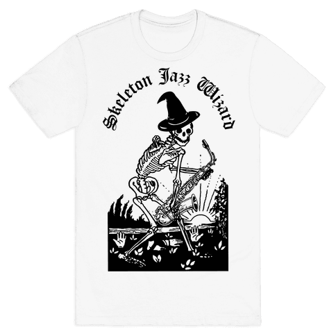 Skeleton Jazz Wizard Mens T-Shirt