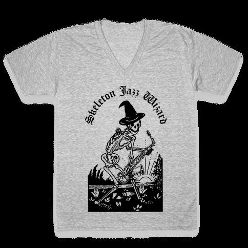 Skeleton Jazz Wizard V-Neck Tee Shirt