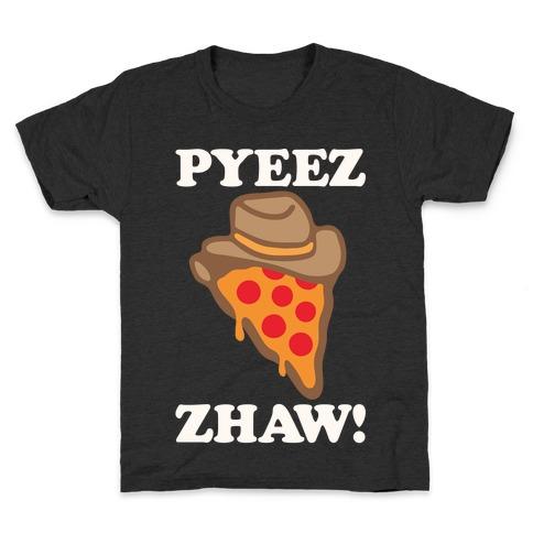 Pyeezzhaw Pizza Cowboy Parody White Print Kids T-Shirt