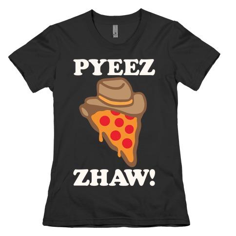 Pyeezzhaw Pizza Cowboy Parody White Print Womens T-Shirt