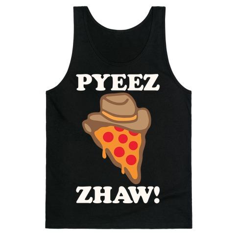 Pyeezzhaw Pizza Cowboy Parody White Print Tank Top