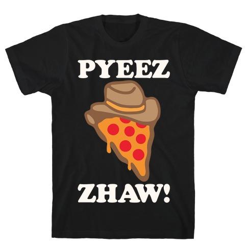 Pyeezzhaw Pizza Cowboy Parody White Print T-Shirt