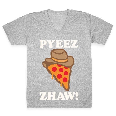 Pyeezzhaw Pizza Cowboy Parody White Print V-Neck Tee Shirt