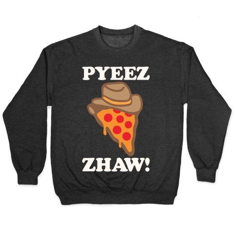 Pyeezzhaw Pizza Cowboy Parody White Print Pullover